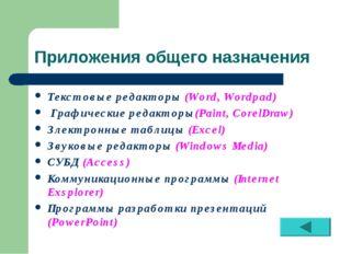 Приложения общего назначения Текстовые редакторы (Word, Wordpad) Графические