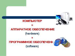 КОМПЬЮТЕР = АППАРАТНОЕ ОБЕСПЕЧЕНИЕ (hardware) + ПРОГРАММНОЕ ОБЕСПЕЧЕНИЕ (soft