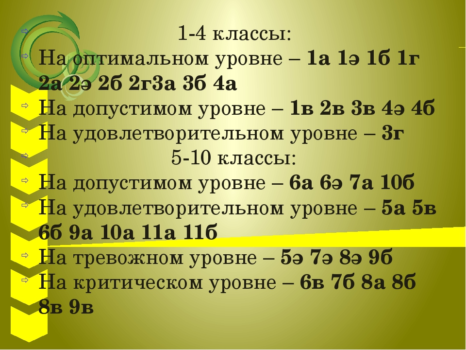 1-4 классы: На оптимальном уровне – 1а 1ә 1б 1г 2а 2ә 2б 2г3а 3б 4а На допус...