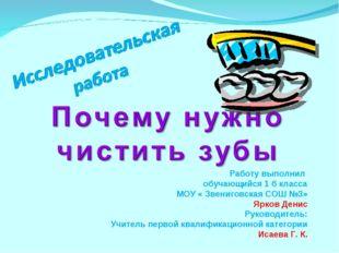 Работу выполнил обучающийся 1 б класса МОУ « Звениговская СОШ №3» Ярков Денис