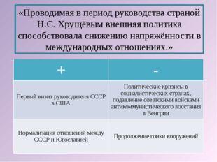 «Проводимая в период руководства страной Н.С. Хрущёвым внешняя политика спосо