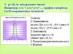 3. р=-2n (n- натуральное число) Например: y=x -2, y=x-4,y=x-6….-график гиперб