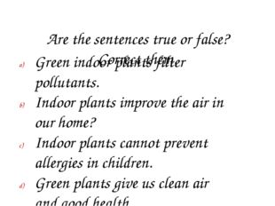 Are the sentences true or false? Correct them. Green indoor plants filter po