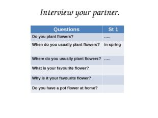 Interview your partner. Questions St 1 Do you plant flowers? ….. When do you