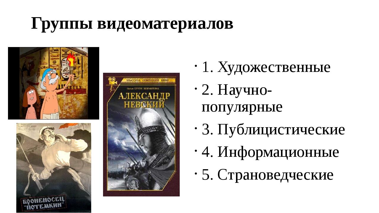 Группы видеоматериалов 1. Художественные 2. Научно- популярные 3. Публицистич...