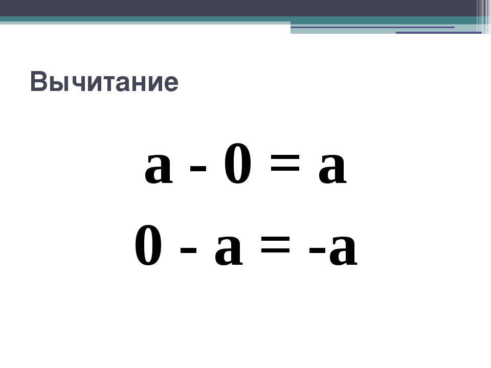 Вычитание a - 0 = a 0 - a = -a