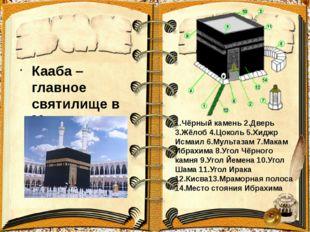 Кааба –главное святилище в Мекке. 1.Чёрный камень 2.Дверь 3.Жёлоб 4.Цоколь 5.