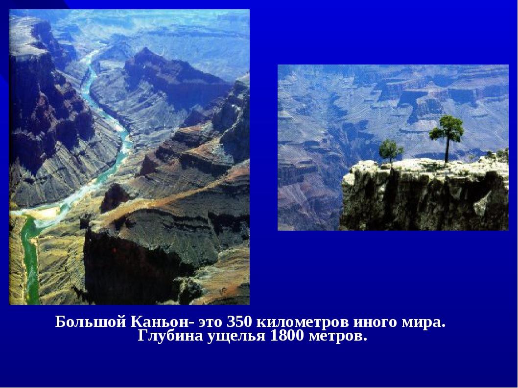Большой Каньон- это 350 километров иного мира. Глубина ущелья 1800 метров.