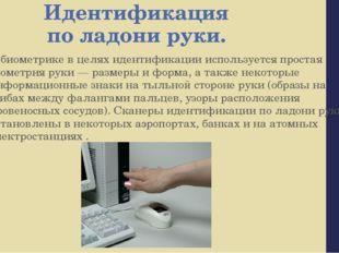 Идентификация по ладони руки. В биометрике в целях идентификации используется