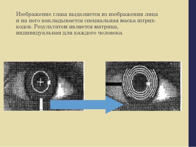 Изображение глаза выделяется из изображения лица и на него накладывается спец...