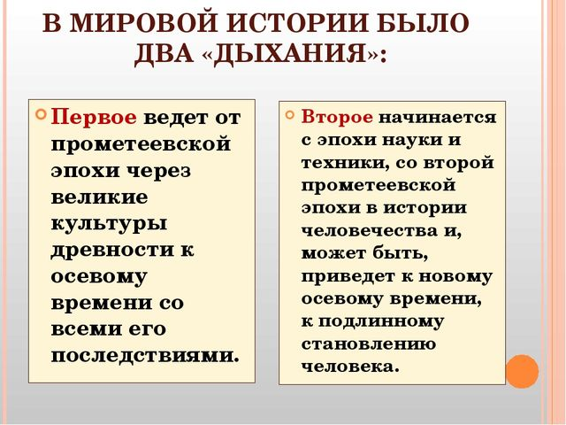 В МИРОВОЙ ИСТОРИИ БЫЛО ДВА «ДЫХАНИЯ»: Первое ведет от прометеевской эпохи чер...
