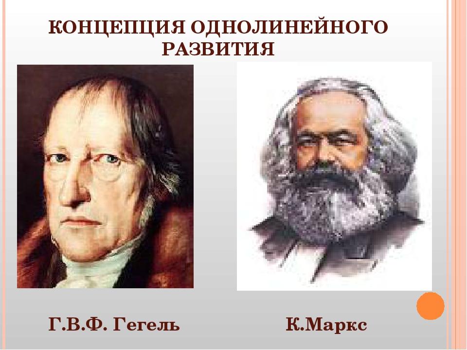 КОНЦЕПЦИЯ ОДНОЛИНЕЙНОГО РАЗВИТИЯ Г.В.Ф. Гегель К.Маркс