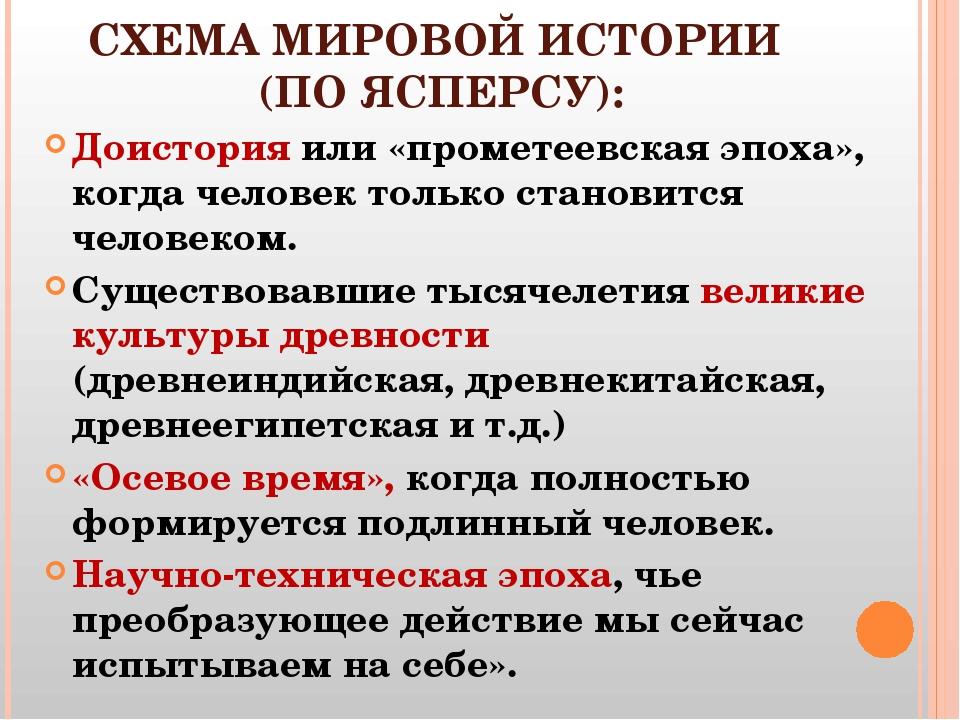 СХЕМА МИРОВОЙ ИСТОРИИ (ПО ЯСПЕРСУ): Доистория или «прометеевская эпоха», когд...