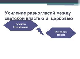 Усиление разногласий между светской властью и церковью Алексей Михайлович Пат