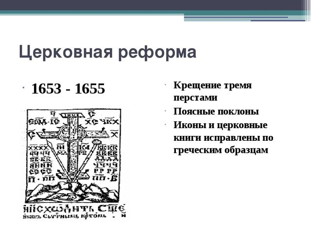Церковная реформа 1653 - 1655 Крещение тремя перстами Поясные поклоны Иконы и...