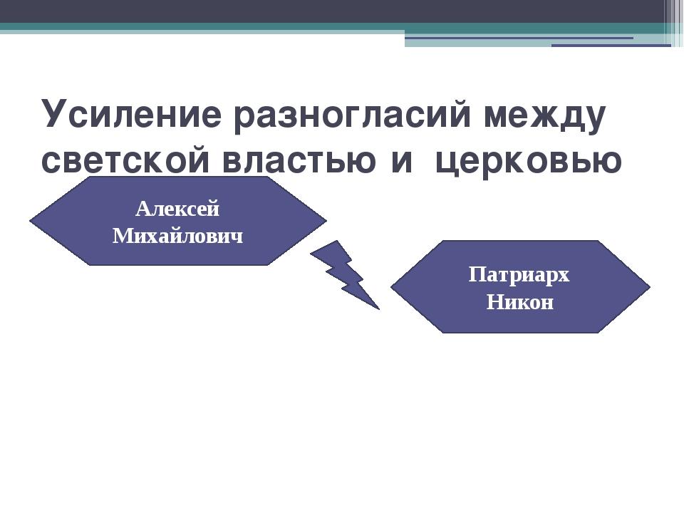 Усиление разногласий между светской властью и церковью Алексей Михайлович Пат...