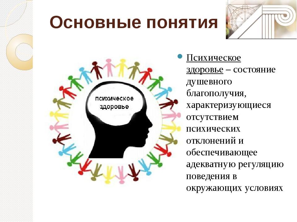 Основные понятия Психическое здоровье– состояние душевного благополучия, хар...