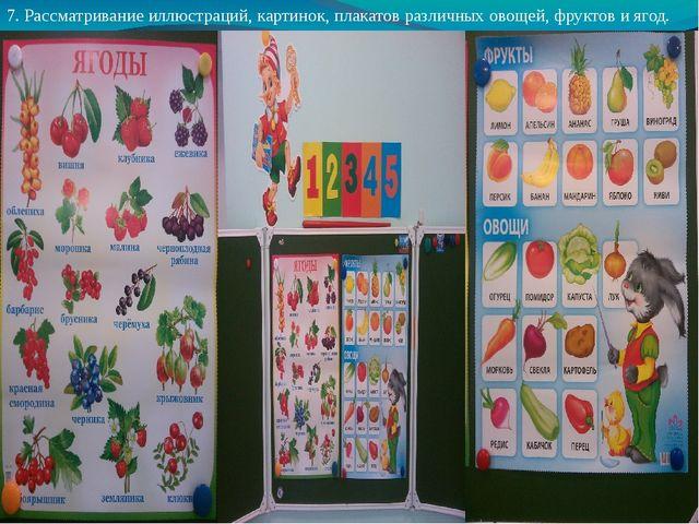 7. Рассматривание иллюстраций, картинок, плакатов различных овощей, фруктов и...