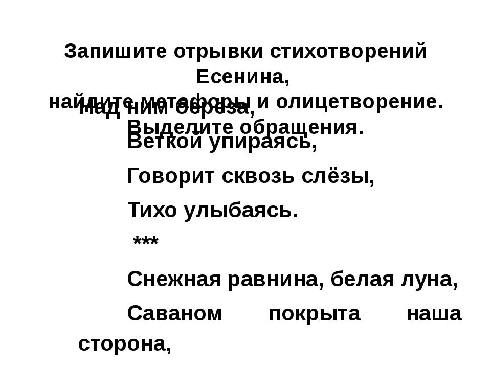 Запишите отрывки стихотворений Есенина, найдите метафоры и олицетворение. Вы...