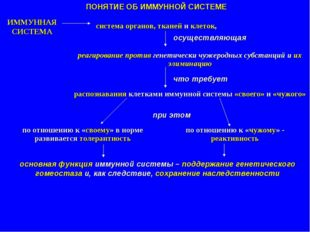 ПОНЯТИЕ ОБ ИММУННОЙ СИСТЕМЕ ИММУННАЯ СИСТЕМА система органов, тканей и клеток