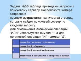 Задача №5В таблице приведены запросы к поисковому серверу. Расположите номера
