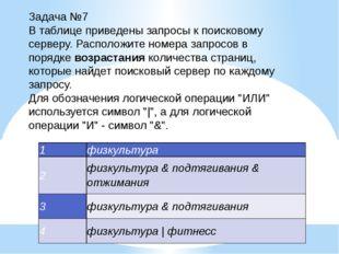 Задача №7 В таблице приведены запросы к поисковому серверу. Расположите номер