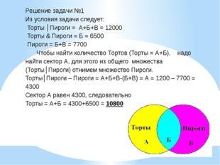 Решение задачи №1 Из условия задачи следует: Торты│Пироги=А+Б+В= 12000