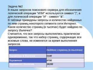 Задача №2 В языке запросов поискового сервера для обозначения логической опер