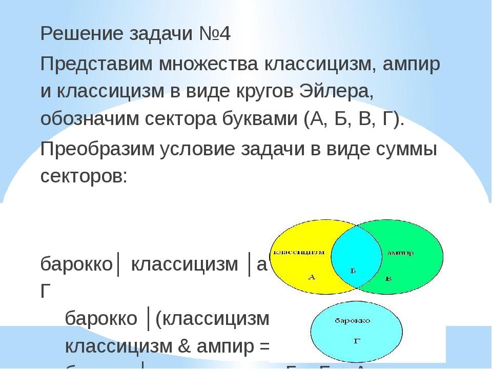 Решение задачи №4 Представим множества классицизм, ампир и классицизм в виде...