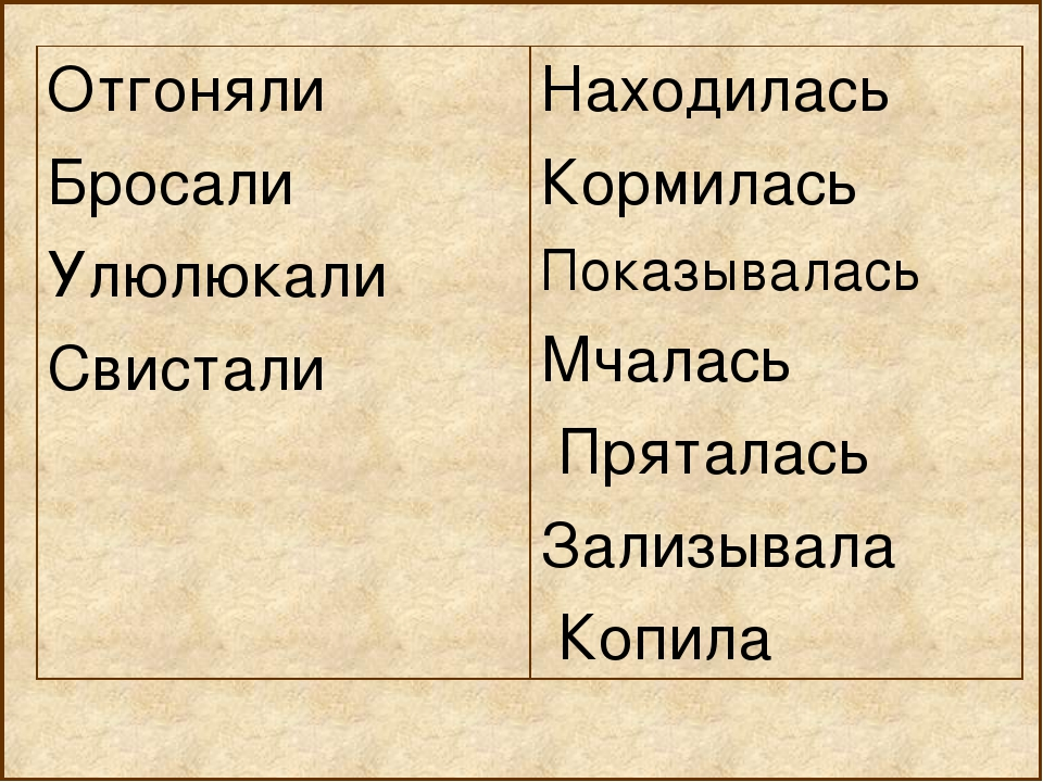 Отгоняли Бросали Улюлюкали СвисталиНаходилась Кормилась Показывалась Мчалась...