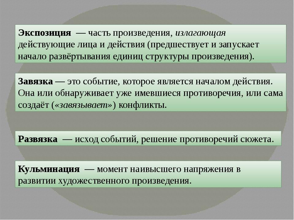 Экспозиция — часть произведения, излагающая действующие лица и действия (пред...