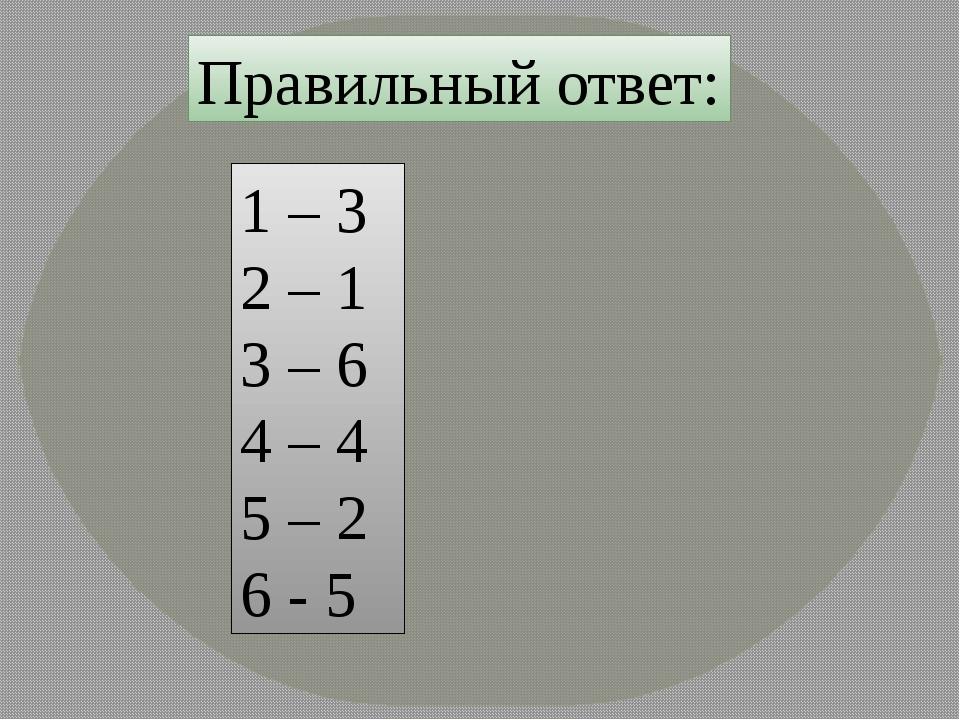 Правильный ответ: 1 – 3 2 – 1 3 – 6 4 – 4 5 – 2 6 - 5