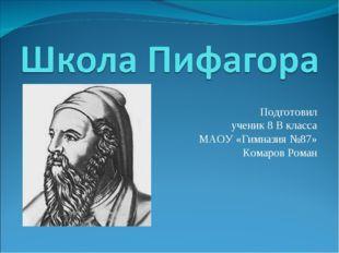 Подготовил ученик 8 В класса МАОУ «Гимназия №87» Комаров Роман