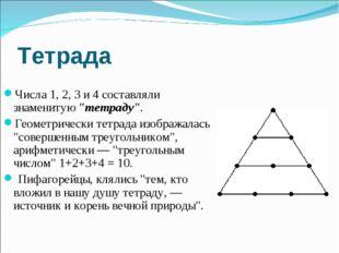 """Тетрада Числа 1, 2, 3 и 4 составляли знаменитую """"тетраду"""". Геометрически тетр"""