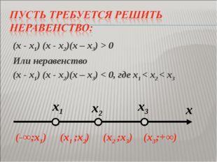 (х - х1) (х - х2)(х – х3) > 0 Или неравенство (х - х1) (х - х2)(х – х3) < 0,