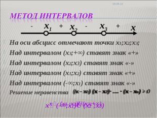 На оси абсцисс отмечают точки х1;х2;х3; Над интервалом (х3;+∞) ставят знак «