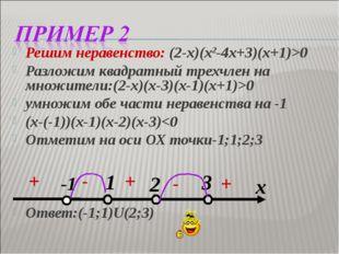 Решим неравенство: (2-х)(х2-4х+3)(х+1)>0 Разложим квадратный трехчлен на множ