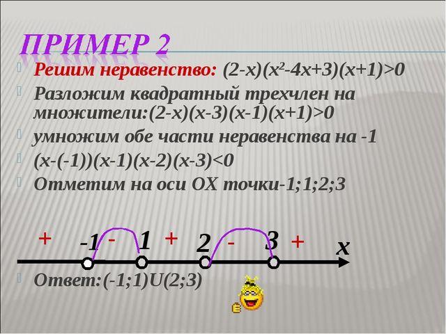 Решим неравенство: (2-х)(х2-4х+3)(х+1)>0 Разложим квадратный трехчлен на множ...