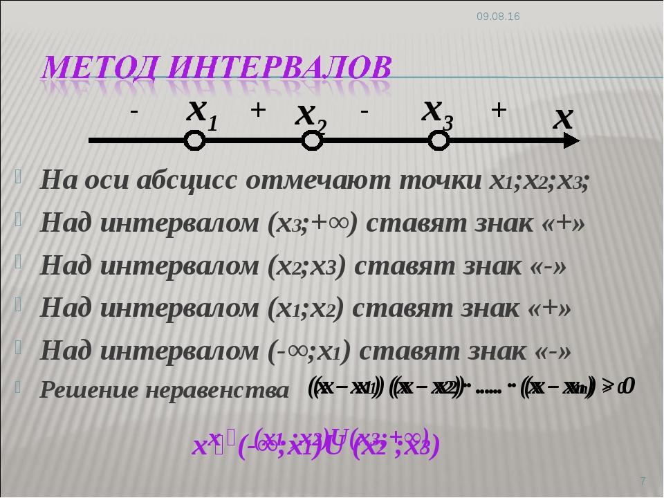 На оси абсцисс отмечают точки х1;х2;х3; Над интервалом (х3;+∞) ставят знак «...
