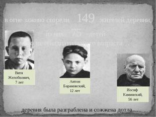деревня была разграблена и сожжена дотла… Витя Желобкович, 7 лет Антон Барано