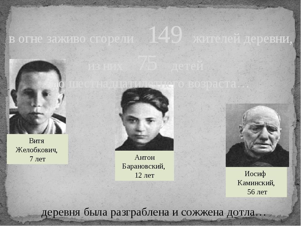 деревня была разграблена и сожжена дотла… Витя Желобкович, 7 лет Антон Барано...