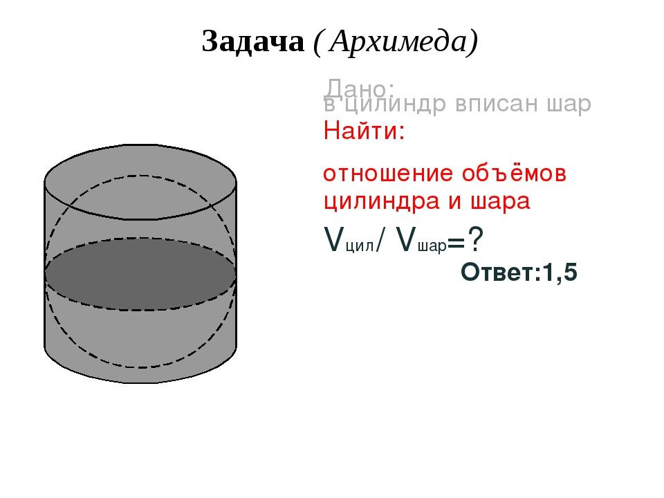 Задача ( Архимеда) Дано: в цилиндр вписан шар Найти: отношение объёмов цилинд...