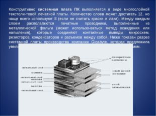 Конструктивно системная плата ПК выполняется в виде многослойной текстоли-тов