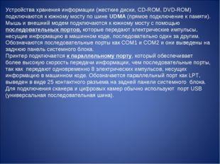 Устройства хранения информации (жесткие диски, CD-ROM, DVD-ROM) подключаются