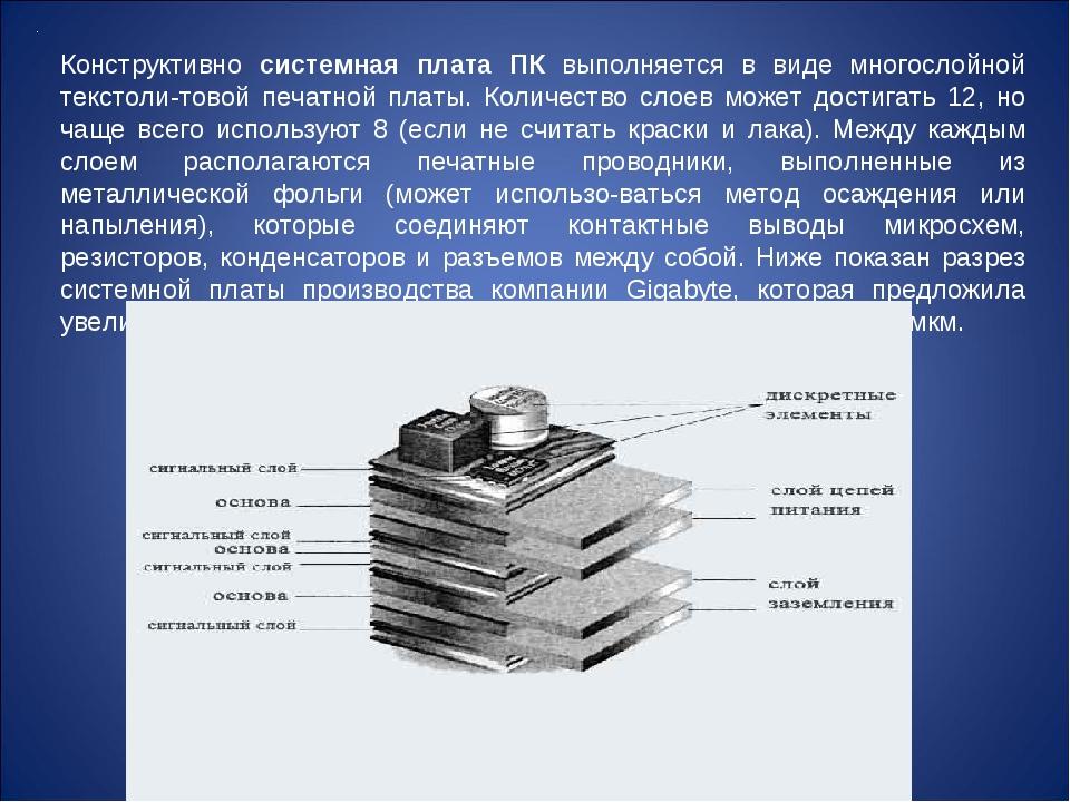 Конструктивно системная плата ПК выполняется в виде многослойной текстоли-тов...