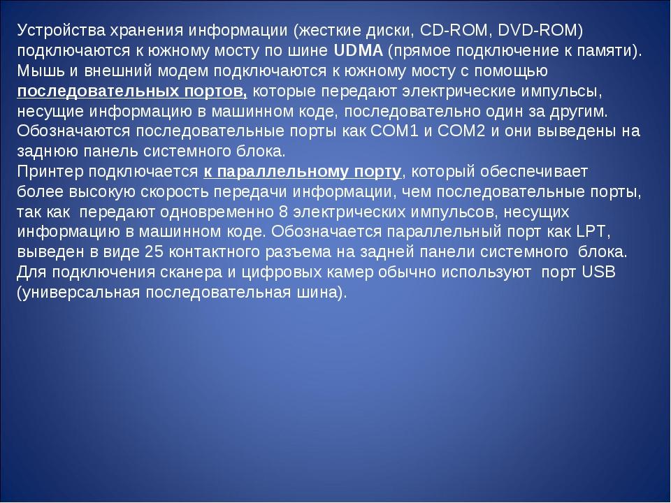 Устройства хранения информации (жесткие диски, CD-ROM, DVD-ROM) подключаются...