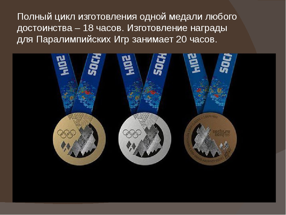 Полный цикл изготовления одной медали любого достоинства – 18 часов. Изготовл...