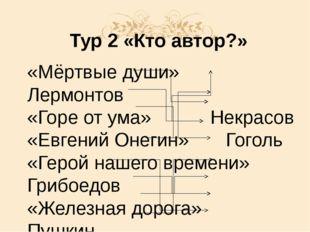 Тур 2 «Кто автор?» «Мёртвые души»Лермонтов «Горе от ума»Некрасов «Евге