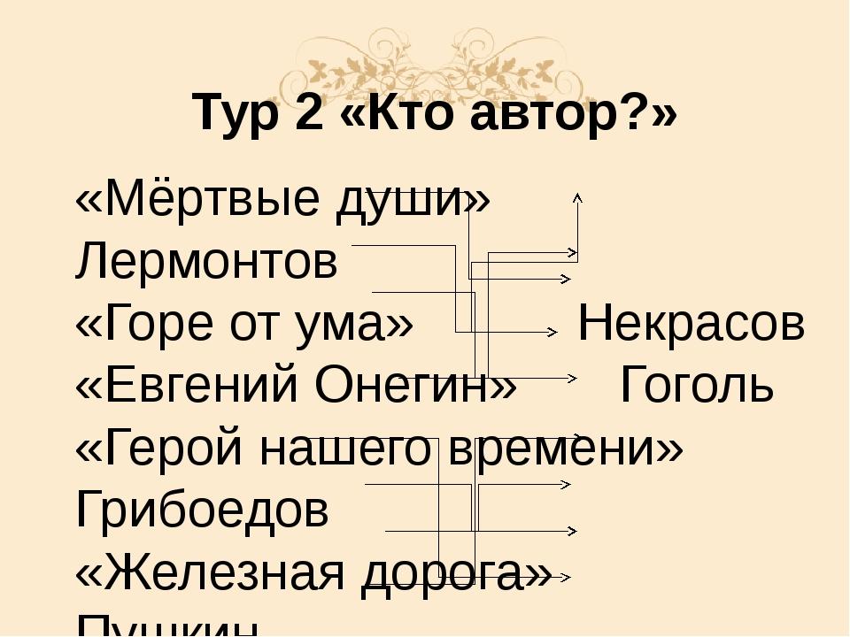 Тур 2 «Кто автор?» «Мёртвые души»Лермонтов «Горе от ума»Некрасов «Евге...