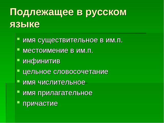 Подлежащее в русском языке имя существительное в им.п. местоимение в им.п. ин...